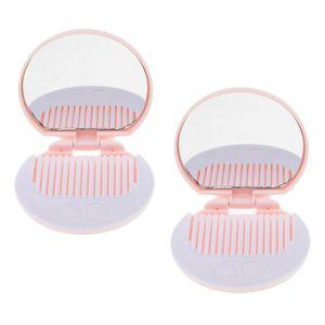 Beweglicher Netter Schokoladen Plätzchen Form Kosmetik Make-up Spiegel Taschenspiegel mit Kamm Farbe Rosa