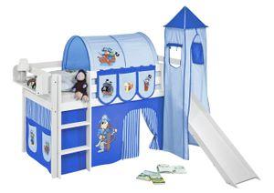Lilokids Spielbett JELLE Pirat Blau Blau - Hochbett - weiß - mit Turm, Rutsche und Vorhang - Maße: 113 cm x 208 cm x 98 cm; JELLE3054KWTR-PIRAT-BLAU-S