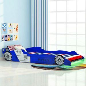 Kinderbett Jugendbett mit LED im Rennwagen-Design 90 x 200 cm Blau, Holzbett Autobett für Kinder