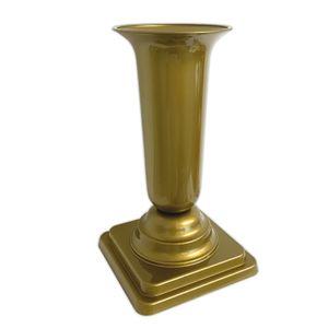 Grabvase Gold Grabschmuck Kunststoff Friedhofsvase mit Sockel Friedhof Blumenvase Grabdekoration Grab Vase Grabsteckvase