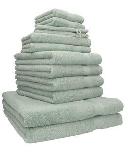 Betz 12er Handtuch-Set PREMIUM 2 Liegetücher 4 Handtücher 2 Gästetücher 2 Seiftücher 2 Waschhandschuhe, Farbe heugrün