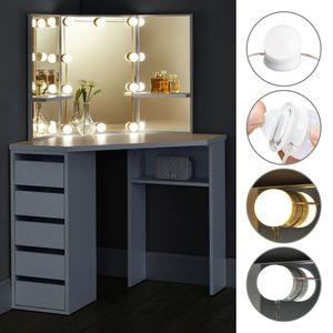 Juskys Eck Schminktisch Nova mit LED-Beleuchtung, Spiegel, Schubladen & Fächern | weiß | MDF Holz | Frisiertisch Kosmetiktisch Kommode