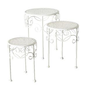 Beistelltisch weiß Metall Telefontisch Pflanzentisch Blumenständer Tisch niedrig(Höhe 28 x Durchmesser 20 cm)
