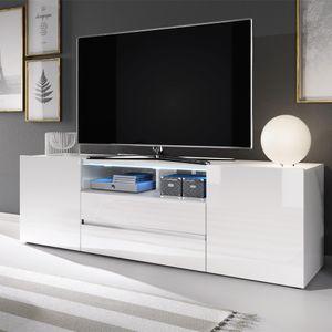 Selsey TV-Lowboard BROS - TV-Tisch in Weiß Matt / Weiß Hochglanz mit LED-Beleuchtung, 137 cm breit