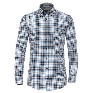 Größe 3XL Casamoda Sport Hemd Blau Schwarz Weiß kariert mit Besatz Langarm Comfort Fit Normal Geschnitten Button Down Kragen 100% Baumwolle Bügelleicht