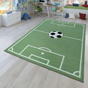 Kinder-Teppich, Spiel-Teppich Für Kinderzimmer Mit Fußball-Design, In Grün, Größe:140x200 cm