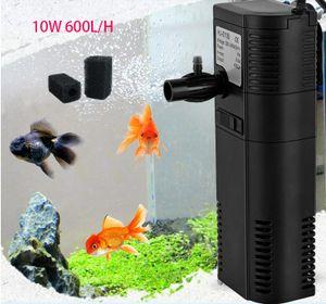 Powerdelux 600L/h  Multifunktionaler Aquarium Innenfilter Pumpe  Sauerstoffversorgung mit 2 Filterschwämmen