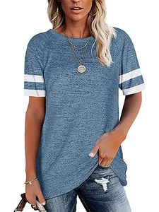 Lose T-Shirt Für Damen Lässiges Kurzarm-Oberteil Mit Rundhalsausschnitt,Farbe: Blau,Größe:XL