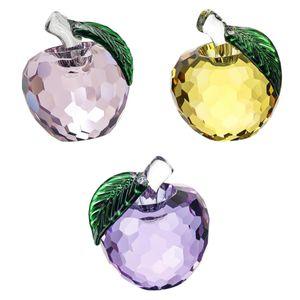 Kristallkugel Äpfel Glaskugel Dekofigur Briefbeschwerer, 3er Set, Rosa + Lila + Gelb