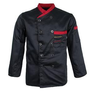 Uni Kochjacke Langarm Bäckerjacke Gastronomie Kochbekleidung Jacke Berufsbekleidung Hotel Restaurant Arbeitskleidung Größe XL Farbe Schwarz