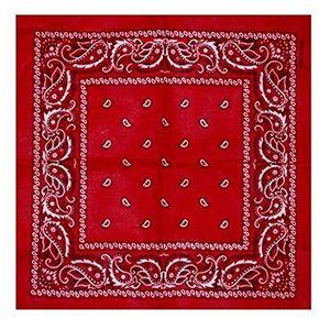 BOOLAVARD 100 % Baumwolle 1pcs, 6pcs oder 12pcs packen Bandanas mit Original Paisley Muster Farbe Wahl Kopfbedeckung / Haare (Red)