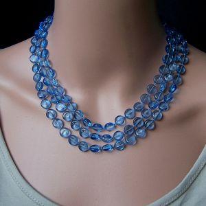 Z278# Perlenkette lang ozeanblau Perlen Wickelkette Halskette