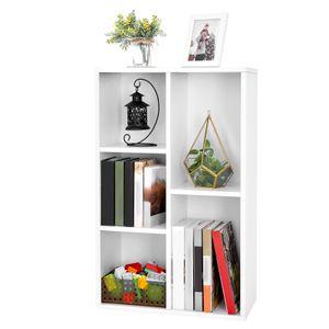 VASAGLE Bücherregal mit 5 Fächern weiß aus Holz 50 x 80 x 24 cm Bücherschrank Display-Regal LBC25WT