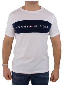 Tommy Hilfiger Herren Flaggen-Logo-T-Shirt, Weiß L