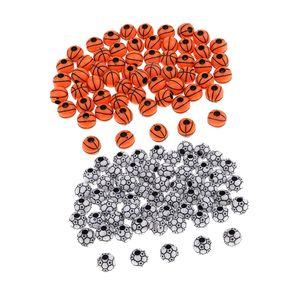 120x Fußball und Basketball Perlen zum auffädeln, Bastelperlen Schmuckperlen zum basteln Perlen mit Loch
