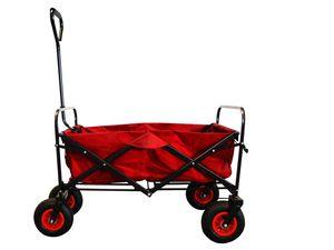 MAXOfit® Bollerwagen, faltbar,  rot mit Luftbereifung und Feststellbremse