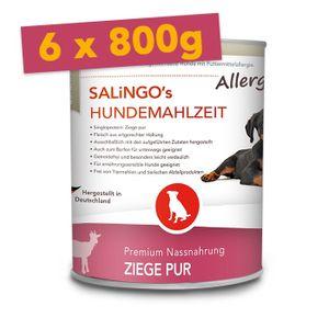SALiNGO Premium Hunde Nassfutter Ziege PUR | getreidefrei | hypoallergen | 6x800g