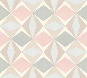A.S. Création geometrische Tapete Scandinavian Vliestapete grau rosa beige 10,05 m x 0,53 m