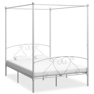 Modernem - Himmelbett-Gestell Bettgestell Weiß Metall 140 x 200 cm  - Doppelbett Designbett Jugendbett