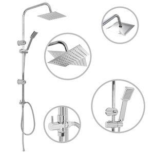 vidaXL Doppelkopf-Duschset mit Handbrause Edelstahl