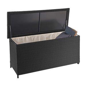 Poly-Rattan Kissenbox HWC-D88, Gartentruhe Auflagenbox Truhe  Premium schwarz, 63x135x52cm 320l