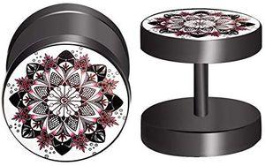 1 Paar Edelstahl Fakeplugs Fake Plug Tunnel Ohrstecker Ohrring 10mm Herren Damen Schmuck Ring (Variante 4)