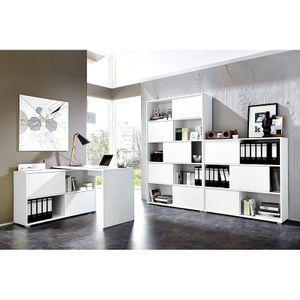 Büromöbel Set 3-teilig MANHATTEN-01 weiß, Sonoma-Eiche-Nb.