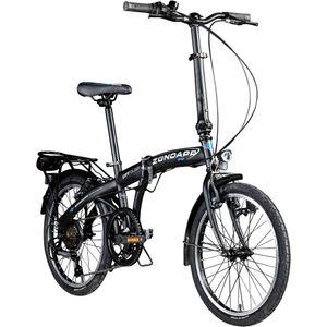 Zündapp ZF20 Speed Folder 20 Zoll Klapprad Faltrad Stadtrad Fahrrad faltbar Klappfahrrad StVZO, Farbe:schwarz, Rahmengröße:28.5 cm