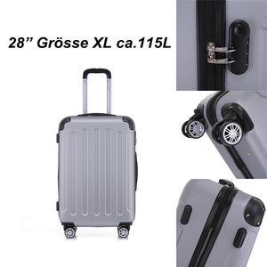 Reise Koffer Hartschalenkoffer Trolley Reisekoffer XL Silber 4 Rollen Roll-Koffer Handgepäck