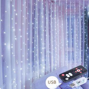 Lichtervorhang, 300 LEDs Vorhang Eiszapfen Lichter, 8 Modi LED Fairy String Lichter mit Fernbedienung, romantische Atmosphäre LED Lichterkette für Hochzeit Weihnachtsfeiern Party Home Decoration 3m x 3m (Kaltweiß)