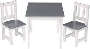 WOLTU Kindertisch SG014 mit 2 Stühle Kindersitzgruppe Holz Tischgruppe für Kinder Vorschüler Kindermöbel, 60x50x48cm, Weiß+Grau