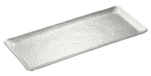 Dekotablett Dekoschale Tablett Schale silber Metall Deko Tischdeko 35x15 cm