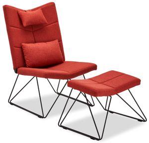 Ibbe Design Rot Bequem Ohrensessel Skandinavisch Fernsehsessel Patchwork Stoff Sessel mit Hocker und Kissen, Schwarz Metall Gestell, 65x85x100 cm