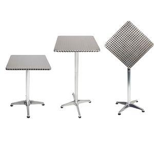 Bistrostehtisch Aluminium 60x60cm H70/110cm Höhenverstellbar klappbar