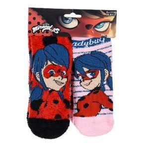 Miraculous Ladybug Kinder Antirutsch-Socken, 2er Pack, rot-pink, Größe:31-34