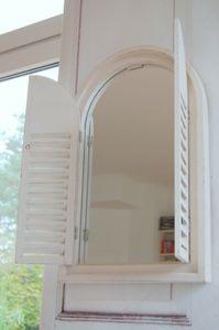 Landhause Spiegel, Wandspiegel KOS mit Fensterläden im Shabby Chic