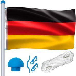 Hengmei Höhenverstellbar Aluminium Fahnenmast Witterungsbeständigem Flaggenmast mit Deutschlandfahne Seilzug und Stabil Bodenhülse für Draussen Einbetonieren(Gesamthöhe 650cm)