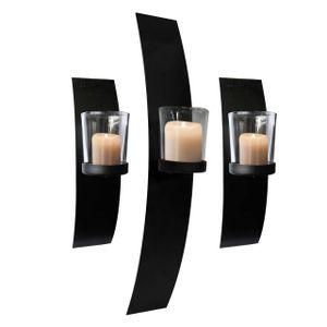 LEX 3er Set Wandkerzenhalter mit Glaskerzenhalter