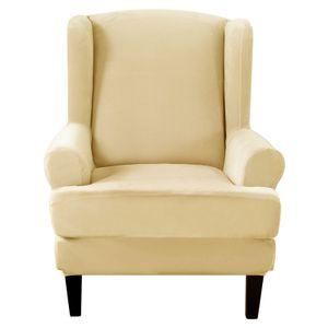 Elastischer Sofabezug, Sesselbezug Stretch Elastischer Ohrensessel Bezug Sofaüberwurf Weiches Silberfuchs-Kunstpelzmaterial