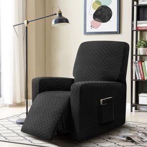MECO Sesselbezug, Sesselschoner, Sesselhussen, Stretchhusse für Relaxsessel Komplett, Elastisch Bezug für Fernsehsessel Liege Sessel (Schwarz)