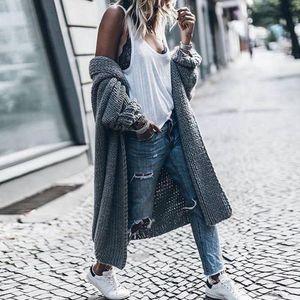 Frauen Wintermäntel Wolle Cardigan Solid Bat Jacke Pullover Langer, lockerer, dicker Mantel Größe:5XL,Farbe:Grau