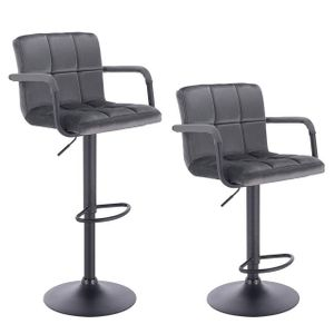 WOLTU Barhocker 2er-Set Barstuhl Tresenhocker Bistrohocker mit Rückenlehne, Sitzfläche aus Samt, höhenverstellbar drehbar Stahl Dunkelgrau