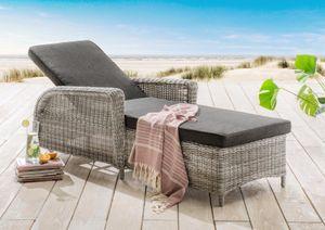 Destiny Liege Casa Luna Vintage Weiß Polyrattan Gartenliege Relaxliege & Polster