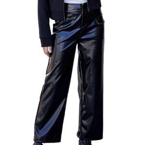 Lederhose für Frauen mit hoher Taille und weitem Bein Herbst und Winter Schlanke Hose mit Taschen Größe:S,Farbe:Schwarz