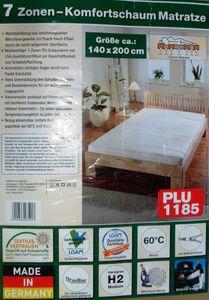 F.a.n. Frankenstolz 7 Zonen Komfortschaum Matratze 140x200 cm mit Qualitätsbezug, Härtegrad 2 …