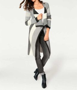 Patrizia Dini Damen Designer-Longstrickjacke, grau-creme, Größe:36/38