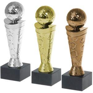 Pokal Fußball Nizza Set je 1x gold, silber, bronze PVC Trophäe Figur 18cm hoch