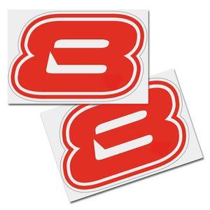 Startnummer Aufkleber 2er Set, Schrift Brünn, # 8, rot
