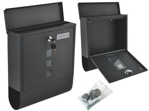 Briefkasten Zeitungsfach Schwarz 2 Schlüssel Sicherungsklappe Modern 6244
