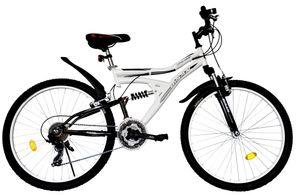 26 Zoll Kinder Jugend Jungen Mädchen Fahrrad Kinderfahrrad MTB Mountainbike Jugendfahrrad Bike Rad 21 Gang Beleuchtung STVO VOLLFEDERUNG Fully WEISS SCHWARZ 4300